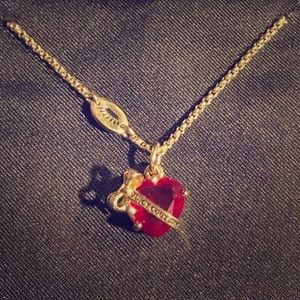 Juicy Couture Red heart Gold Banner Necklace